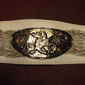 Dragon Belt Leather Metal Silver Wide Medieval